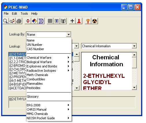 The first responder a drop down menu is displayed which organizes information into categories the user can select the chemical by name the cas number un or na number publicscrutiny Images